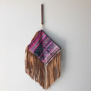 Leather Fringed clutch NWT